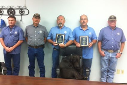 left to right, Harry Sellars, Daryl Boyle, G.L. Keas, John Allen, and Cody Shannon. In the chair Sooner plant mascot. Not pictured plant operators Jim Reed, Tony Brandstetter and Eddie Tomlinson