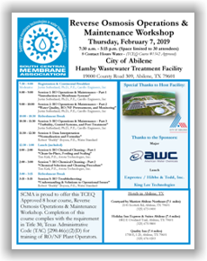 SCMA RO Operations & Maintenance Workshop - Abilene, TX - Feb. 7, 2019 @ Hamby Wastewater Treatment Facility | Abilene | Texas | United States