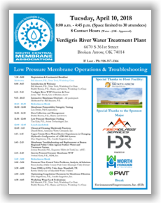 SCMA Low Pressure Membrane Operations & Troubleshooting Workshop - Broken Arrow, OK - April 10, 2018 @ Verdigris River Water Treatment Plant | Broken Arrow | Oklahoma | United States