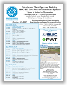 Membrane Plant Operator Training - MOC III: Low Pressure Membrane Systems - Brownsville, TX - Oct. 3-5, 2017 @ Southmost Regional Water Authority Brackish Groundwater Treatment Facility | Broken Arrow | Oklahoma | United States