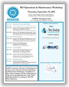 SCMA RO Operations & Maintenance Workshop - Edinburg, TX - September 19, 2019 @ NAWSC Training Center | Abilene | Texas | United States