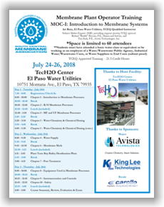 Membrane Plant Operator Training - MOC I: Introduction to Membrane Systems - El Paso, TX - July 24-26, 2018 @ TecH2O Center El Paso Water Utilities | El Paso | Texas | United States