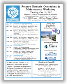 SCMA RO Operations & Maintenance Workshop - El Paso, TX - Oct. 31, 2017 @ TecH2O Center - El Paso Water Utilities | El Paso | Texas | United States