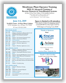 Membrane Plant Operator Training - MOC II: Advanced Training of  Reverse Osmosis & Nanofiltration Systems - El Paso, TX - June 4-6, 2019 @ TecH2O Center El Paso Water Utilities