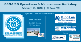 SCMA RO Operations & Maintenance Workshop - El Paso, TX - Feb. 18, 2020 @ TecH2O Center | El Paso Water | El Paso | Texas | United States