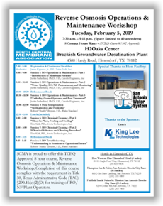 SCMA RO Operations & Maintenance Workshop - Elmendorf, TX - Feb. 5, 2019 @ H2Oaks Center - Brackish Groundwater Desalination Plant (SAWS) | Elmendorf | Texas | United States