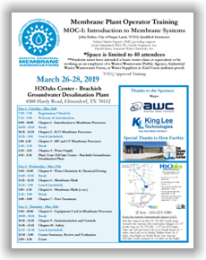 Membrane Plant Operator Training - MOC I: Introduction to Membrane Systems - Elmendorf, TX - March 26-28, 2019 @ H2Oaks Center - Brackish Groundwater Desalination Plant (SAWS)