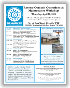 SCMA RO Operations & Maintenance Workshop - Forth Worth, TX - April 12, 2018 @ Fort Worth | Texas | United States