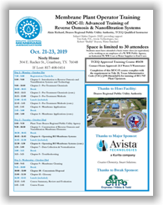 Membrane Plant Operator Training - MOC II: Advanced Training of Reverse Osmosis & Nanofiltration Systems - Granbury, TX - Oct. 21-23 @ Brazos Regional Public Utility Authority