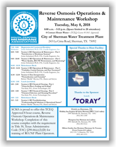 SCMA RO Operations & Maintenance Workshop - Sherman, TX - May 8, 2018 @ City of Sherman Water Treatment Plant | Sherman | Texas | United States