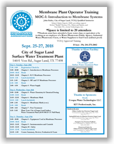 Membrane Plant Operator Training - MOC I: Introduction to Membrane Systems - Sugar Land, TX - Sept. 25-27, 2018 @ Sugar Land | Texas | United States